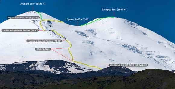 Восхождение на Эльбрус с севера. Схема маршрута