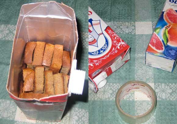 Как укладывать сухари в коробку