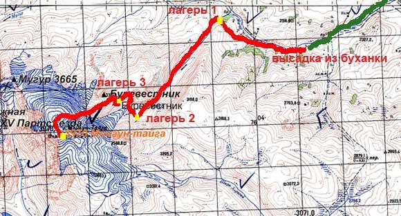 Монгун-Тайга. Маршрут восхождения. Июль 2012 г.