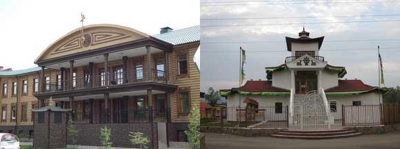 Кызыл. Центр национальной культуры (шаманский центр) и буддийский дацан.