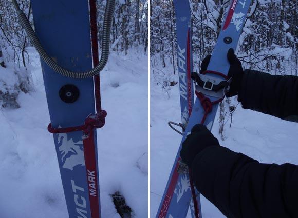 Способ подъёма на лыжах в гору: обмотка туристических лыж