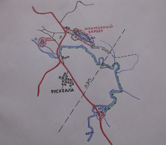 Карта-схема излучины Тохмайоки