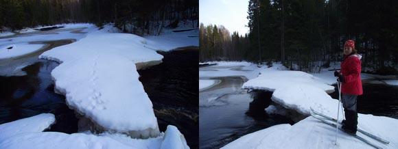 Снежно-ледяные мосты через водопады