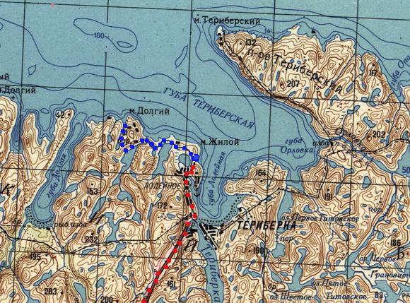 Трек до водопада Териберка на карте местности
