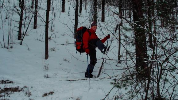 Серпантин - один из способов подъема лыжника в гору